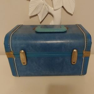 Vintage blue train case carry on luggage